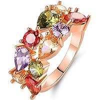 Barzel 18K 镀金和玫瑰金镀层多色镶嵌宝石戒指