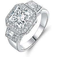 Barzel 18k 白金镀金公主切割方晶锆石宣言戒指