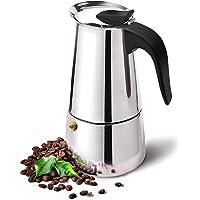 Stovetop Espresso 咖啡机带经典和丰富的酿造摩卡锅,古巴咖啡壶,炉灶面意式浓缩咖啡壶,意大利咖啡壶(4…