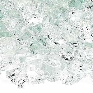 American Fireglass 10 磅防火玻璃,带壁炉玻璃和火坑玻璃 1/2 Inch x 10 Pounds AFF-CLR12-10