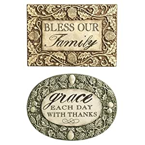 Grasslands Road 印*安夏季 bless Our Family and grace Each Day with Thank Message Plaques Two Style,2 只装