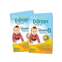 【跨境自营】 Ddrops美版加拿大婴儿维生素D3滴剂2.5ml 400IU 90滴*2瓶 助钙吸收(加拿大品牌 保税仓发货 ) 包税