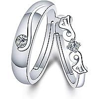 TzrNhm 花朵情侣配套戒指可调式婚礼戒指礼物送给女友*好的情人节承诺戒指