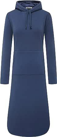 WenVen 女式加大码长袖套头羊毛连帽运动衫连衣裙 蓝色 Medium