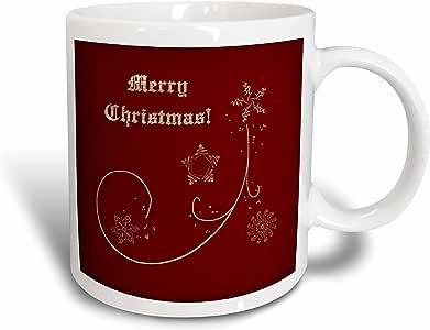 3drose BEVERLY TURNER 圣诞节设计–Merry Christmas ON 优雅红色带金色雪花和星星–马克杯 白色 15盎司