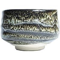 抹茶茶碗 美浓烧 陶器 棕色 灰色 漆图案 花纹 饭碗 传统陶器 日本制造