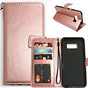 Galaxy S8 手机壳,Ratesell 奢华 PU 皮革钱包翻盖保护套带卡槽和支架,适用于三星 Galaxy S8M-1NEWWALLETLEAS8-ROSEGOLD 玫瑰金