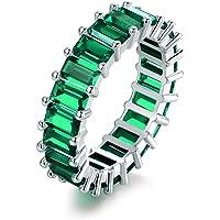 Barzel 18K 镀铑永恒椭圆形切割/祖母绿切割宝石戒指