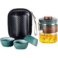 Lyty 便携式旅行茶具套装带茶壶、玻璃茶壶和陶瓷茶杯套装传统日本陶瓷茶具套装带手提包,适合旅行、户外露营野餐(*)