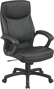 Office Star WorkSmart Executive High Back Eco Leather Chair, Black