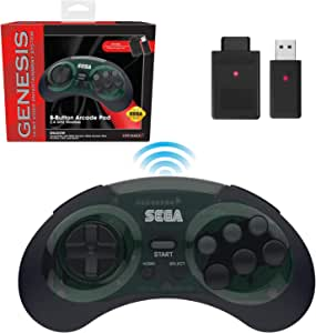 Retro-Bit Sega Genesis 2.4 GHz 无线控制器 8 键式拱门垫,适用于 Sega Genesis 原装/迷你,任天堂开关,电脑,Mac – 包括 2 个接收器和存储盒 - 阴影