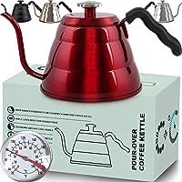 带温度计的咖啡壶 - 流量鹅颈茶壶 - 冲泡咖啡师 - 标准手动滴滤咖啡适合所有炉灶和感应,不含双酚 A (34 盎司…