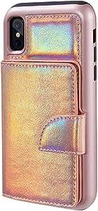 SumacLife 紧凑保护钱包式手机壳带卡槽苹果 iPhone X 手机APLLEA830 全息粉色