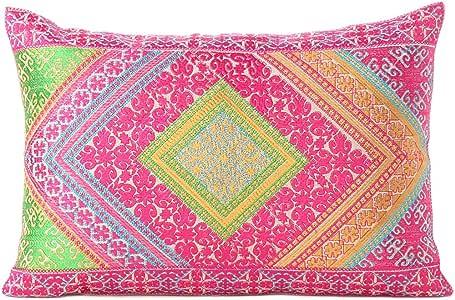 Eyes OF india 粉色绿色彩色装饰波西米亚风刺绣抱枕沙发沙发抱枕靠垫套摩洛哥波西米亚印度