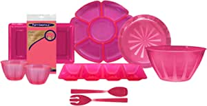 Party Essentials Hard Plastic Bachelorette Party Serveware Kit; Bowls, Trays, Utensils, 16-Piece, Neon Pink