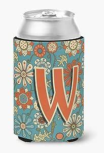 字母 V 花朵复古蓝色超饮料绝缘器 适用于纤薄罐 CJ2012-VMUK