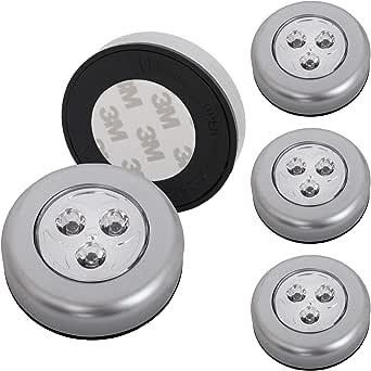 Briloner Leuchten 2633-054 LED 基础建材灯 5件套 无线 包括胶垫 按压开/关功能 橱柜照明 电池供电 直径 6.8 厘米 塑料材质 钛色