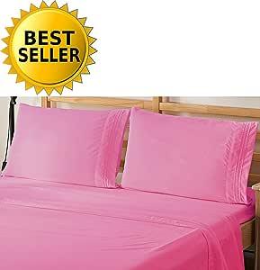 Elegant Comfort 4 件套床单床上用品! 奢华柔软 1500 支埃及品质无皱套深口袋,22 种颜色可选,单人床,普通双人床,大号双人床,加州大号双人床,加州大号双人床 浅粉色 Queen COMIN18JU069965