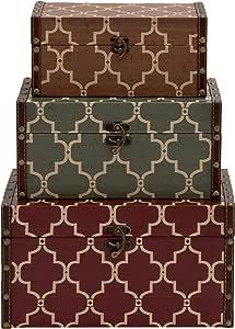 Benzara 复古主题经典木质乙烯基盒,3 件套