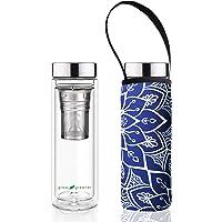 硼硅酸盐玻璃,双壁,热茶壶,瓶子 + 便携袋,盖子,包