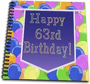 BEVERLY TURNER 生日设计–气球图案紫色横幅 HAPPY 63rd 生日–绘本
