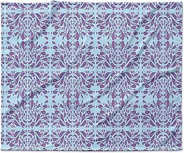 Kess InHouse Rosie 棕色蓝色紫色花朵蓝色紫色混合羊毛毯 紫色 50x60; 60x80 RB1069AFB03