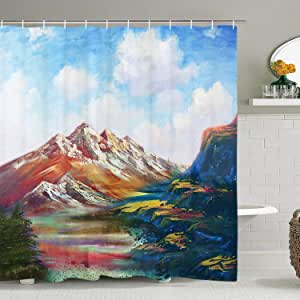 "Smurfs Yingda 火车走过森林淋浴帘浴室帘水管浴室装饰配件带挂钩 Colorful Mountain and Blue Sky White Clouds 84"" L × 69"" W"