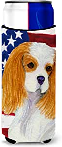 USA American Flag with Cavalier Spaniel Michelob Ultra Koozies for slim cans SS4012MUK 多色 Slim