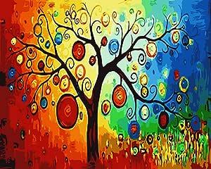 [木质框架] ALB 40.64cm x 50.80cm 数字 DIY 绘画著名绘画系列 1 快乐树 ALB40_044