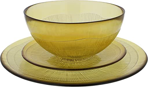 French Home Recycled Glass Dinner Set, Caramel