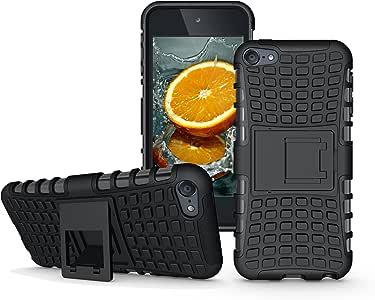 APPLE iPod Touch 6 手机壳,防刮擦双层混合保护套和防震防震缓冲垫 Boonix 制造Boonix-itouchcase-202 KickStand-Black
