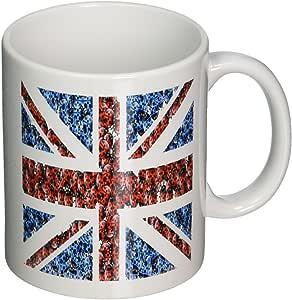 3dRose mug_182820_1 Print of Cute British Flag Done in Ladybugs Ceramic Mug, 11-Ounce