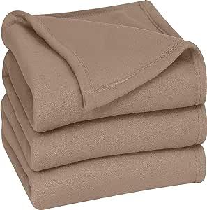 Utopia Bedding 超软羊毛毯 棕褐色 King FBA_UBFLEECEBLANKETKINGTAN