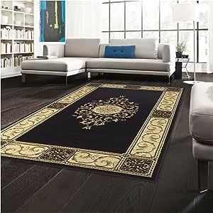 优质优雅 Medallion 系列 2 英尺 7 英寸 x 8 英尺 Runner 地毯,迷人的地毯带黄麻背衬,耐用美观编织结构,花卉 Medallion 地毯带宽边