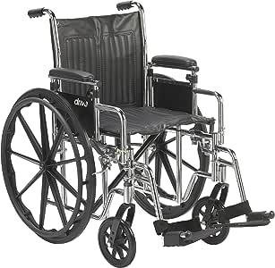 Drive Medical Chrome 运动轮椅,可调节可拆卸桌面扶手,秋千靠垫,18 英寸座椅
