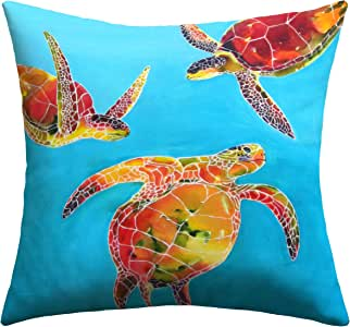 DENY Designs Clara Nilles Tie Dye Sea Turtles Outdoor Throw Pillow, 26 by 26-Inch