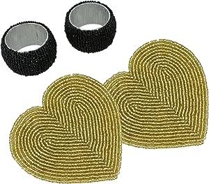 shalinindia 印度装饰*吧和鸡尾*配件适用于家庭2件套串珠饮料杯垫和餐巾环;完美的结婚纪念日礼物情侣