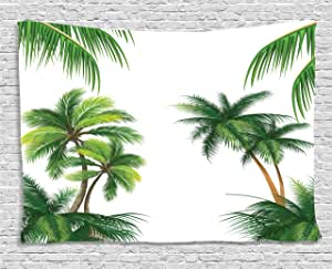 Tropical Tapestry by Ambesonne, Coconut Palm Tree Nature Paradise Plants Foliage Leaves Digital Illustration, Wall Hanging for Bedroom Living Room Dorm, 80 W X 60 L Inches, Hunter Green